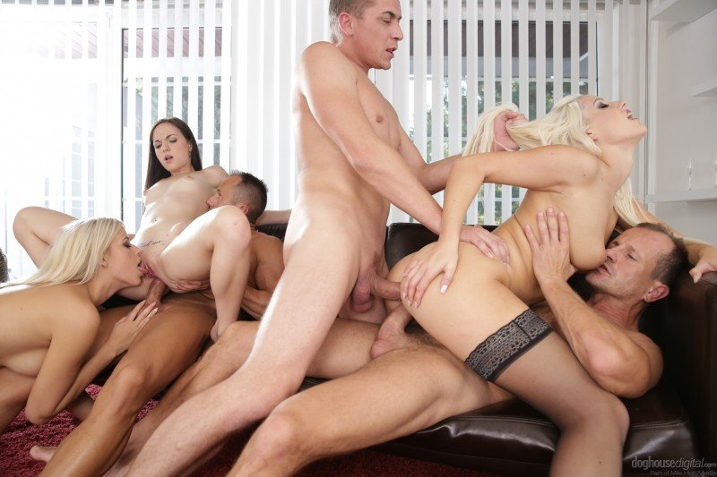 DogHouseDigital.com - Ria Sunn, Blanche Bradburry, Kristy Black - Swingers Orgies - 11 [HD 720p / Group / 2016]