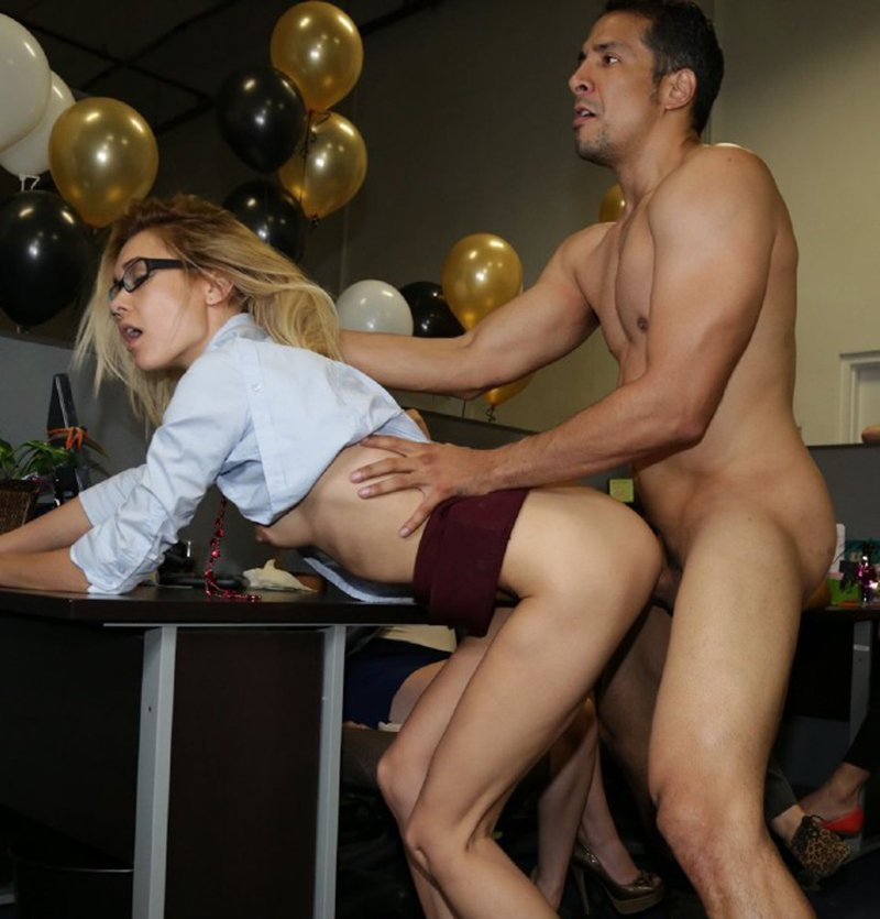 DancingBear.com/BangBros.com - Mila Blaze - Secretaries Suck Dick And The Manager Hardcore Fucked [HD / Orgy / Group / 2014]