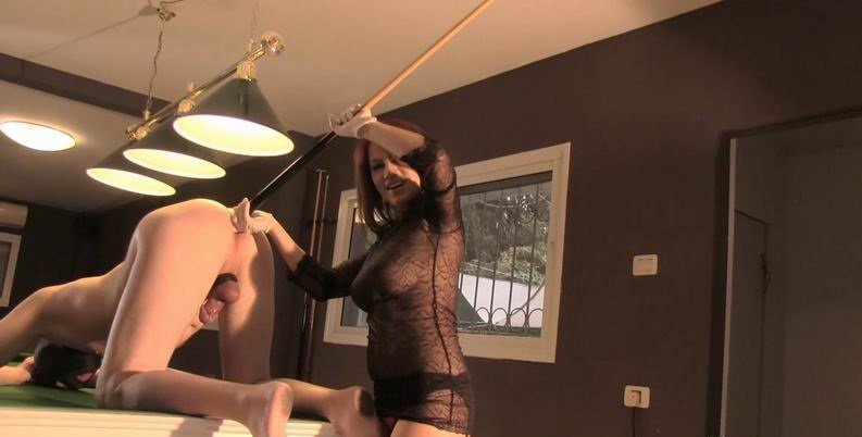 EllaKross.com - Ella Kross - Fucking Slave's Ass with a Pool Cue! [HD 720p / FemDom / Pegging / 2015]
