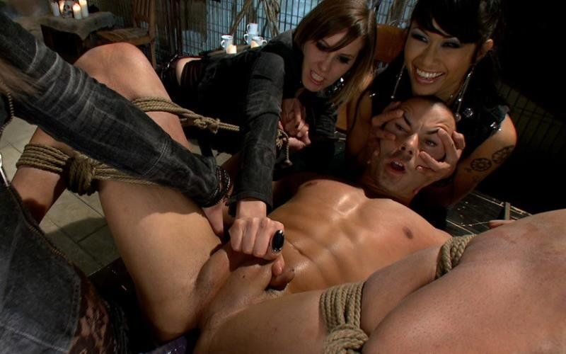 Kink.com / DivineBitches.com - DragonLily, Bobbi Starr, Maitresse Madeline and Nikko Alexander - A Man With Three Balls Means One For Each Domme! [HD / Femdom / BDSM / 2010]