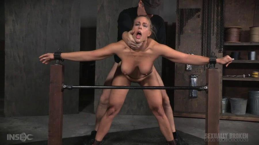 SexuallyBroken.com - Angel Allwood - Angel Allwood BaRS show continues with a spit roasting on hard cock, brutal BBC deepthroat! [HD 720p / BDSM / Big Tits / 2016]