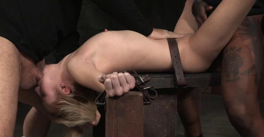 SexuallyBroken.com - Odette Delacroix - Pale 5 foot pixie Odette Delacroix belt bound down and roughly fucked by giant black cock! [HD 720p / BDSM / Bondage / 2016]