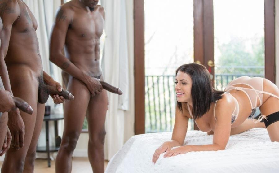 Blacked.com - Adriana Chechik - Brunette Babe Takes Trio of BBCs [FullHD 1080p / MMMF / IR / Big Dick / 2016]