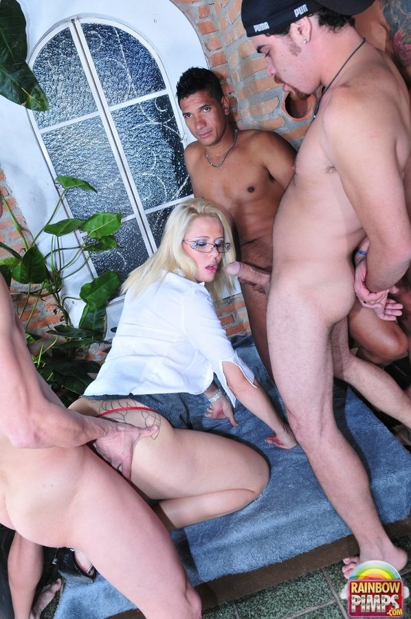 RainbowPimps.com - Mel Voguel - Three Guys Banged A Trance [SD 288p / Transsexual / Group / 2012]