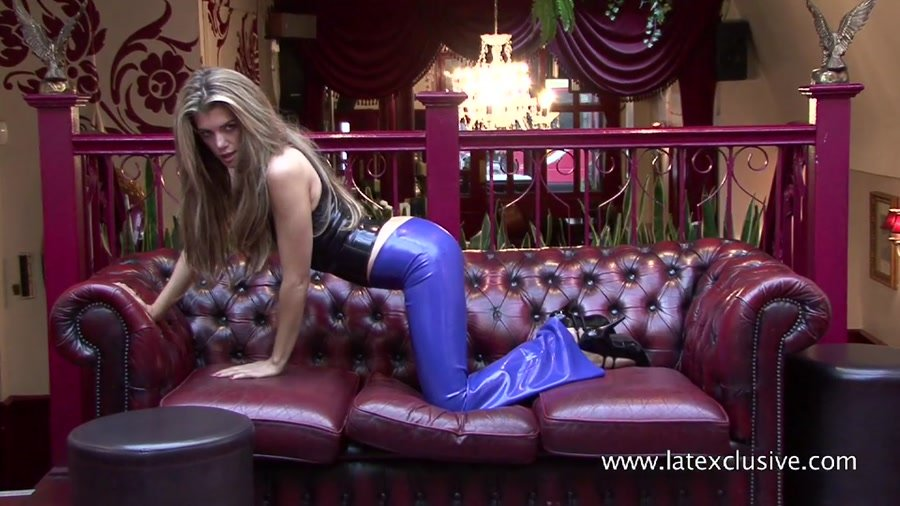 Latexclusive.com - Arianna - Blue Latex Trousers [HD 720p / Latex / Fetish / 2013]