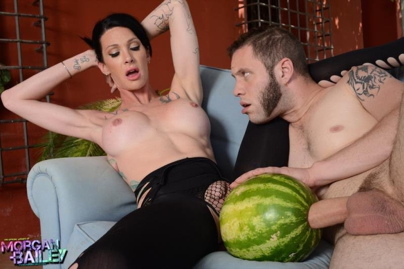 Morgan-Bailey.com - Morgan Bailey - Fruit Entertainments With The Transsexual [HD 720p / Transsexual, Shemale, Fetish, Tattoo, Masturbation, Cumshot, Anal / 2014]