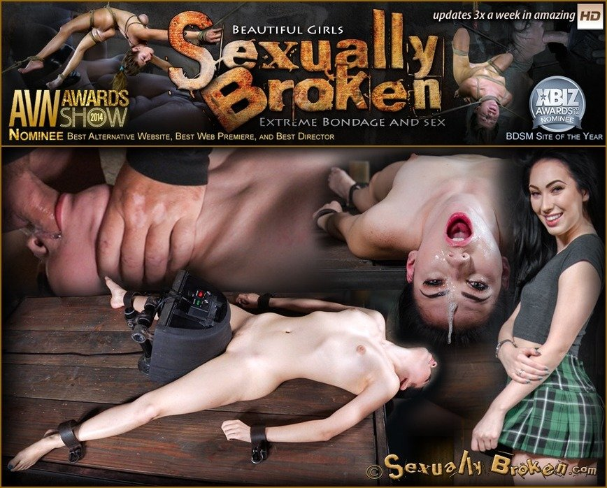 SexuallyBroken.com - Aria Alexander - Sexy beauty Aria Alexander shackled to sybian and throat trained by two hard cocks! [HD 720p / BDSM / Rough Sex / 2016]