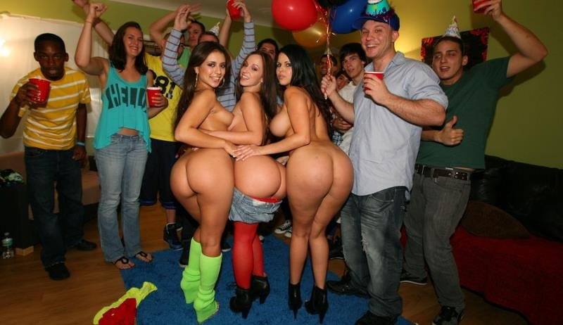 DormInvasion.com/BangBros.com - Jada Stevens, Diamond Kitty, Jinx Maze - Dorm Invasion Surprise Party [HD / Amateur / Orgy / 2013]