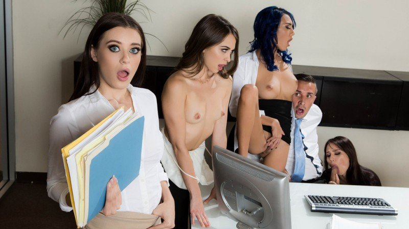 BrazzersExxtra.com - Aidra Fox, Janice Griffith, Lana Rhoades, Riley Reid - Office 4-Play: Intern Edition [SD / Group / Teen / 2016]