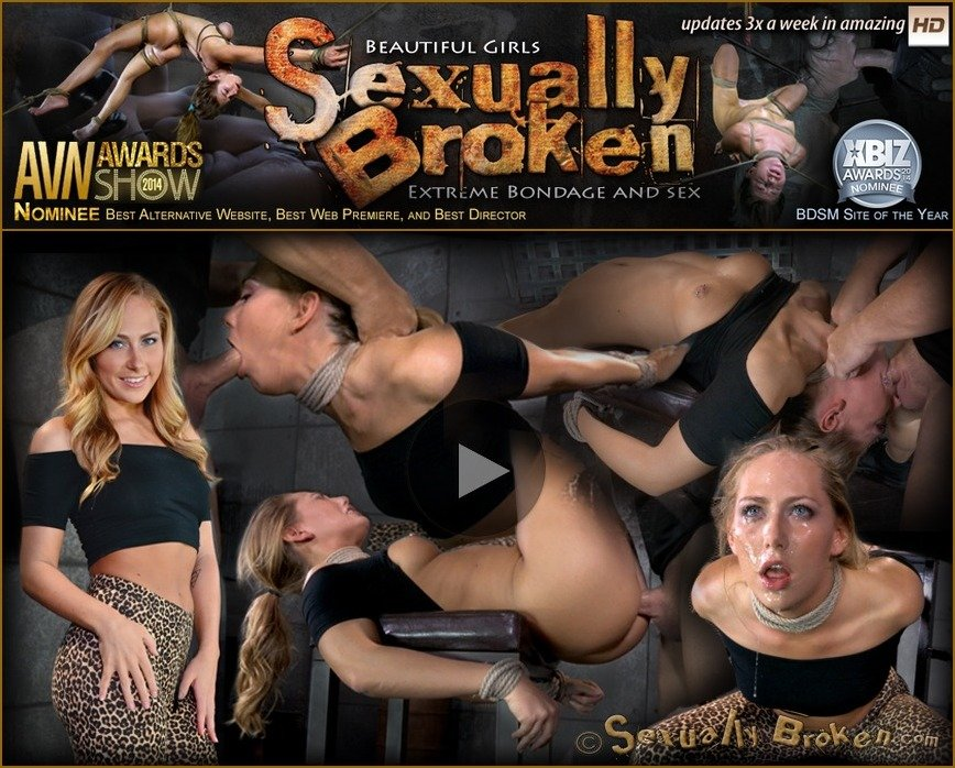 SexuallyBroken.com - Carter Cruise - Blonde girl next door Carter Cruise tied up and ragdoll fucked from both ends messy epic deepthroat! [HD 720p / BDSM / Bondage / 2016]