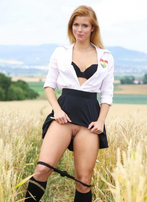 ClubSevenTeen.com - Chrissy Fox - Schoolgirl Pleasuring Herself In A Wheat Field [FullHD 1080p / Teen / Solo / 2016]
