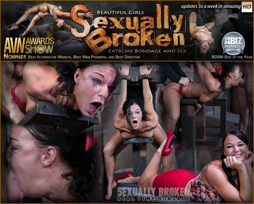 SexuallyBroken.com - London River - London River Struggles In Bondage While Being Fucked, Swallowing Cock and Cumming! [SD 540p / BDSM / Domination / 2016]