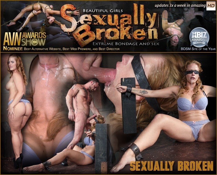 SexuallyBroken.com - Holly Heart - Gorgeous Holly Heart Bound and Blindfolded in Sexy Lingerie Face Fucked While Cumming! [SD 540p / BDSM / Domination / 2016]