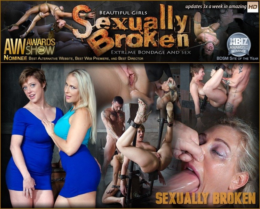 SexuallyBroken.com - Angel Allwood, Dee Williams - Angel and Dee Tied Back to Back And For Mouth and Anal Use and Have Massive Squirting Orgasms! [SD 540p / BDSM / Domination / 2016]