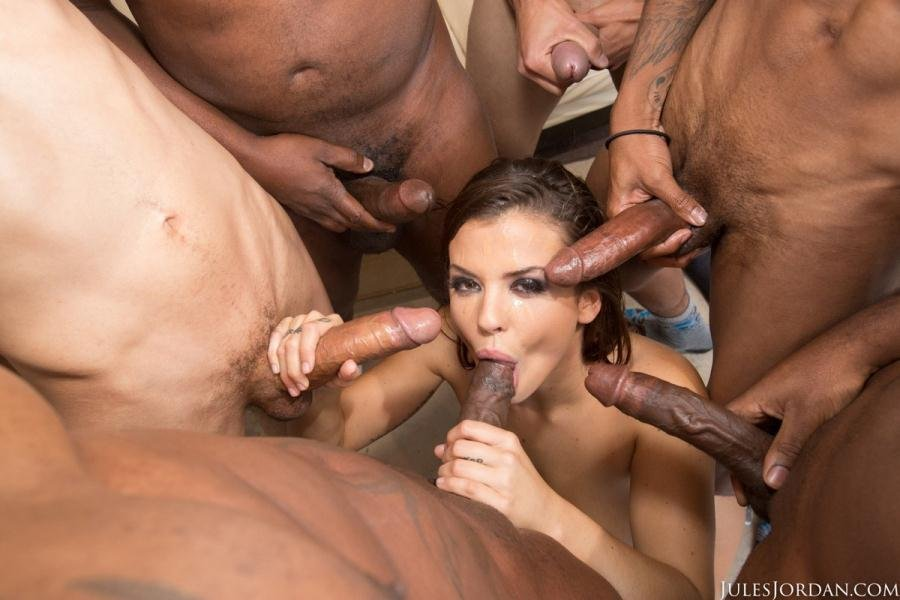 JulesJordan.com - Keisha Grey - Keisha Grey Gets Her Ass Full Of Lex And A Face Full Of Icing From His Friends [SD / Anal / Bukkake / 2017]