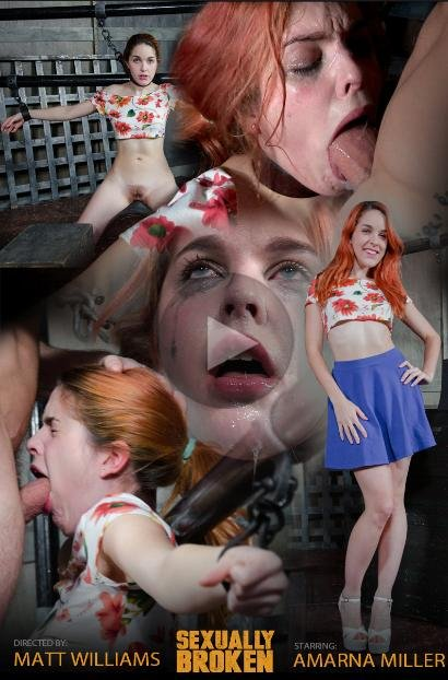 SexuallyBroken.com - Amarna Miller - Hot Redhead Amarna Miller is back, and suffers a brutal facefucking [HD 720p / BDSM / Humiliation / 2017]