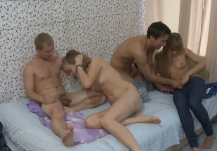 YoungSexParties.com - Russian Girls - Naive Teen Cuties Enjoy a Quick Foursome [SD / Group / Amateur / 2017]