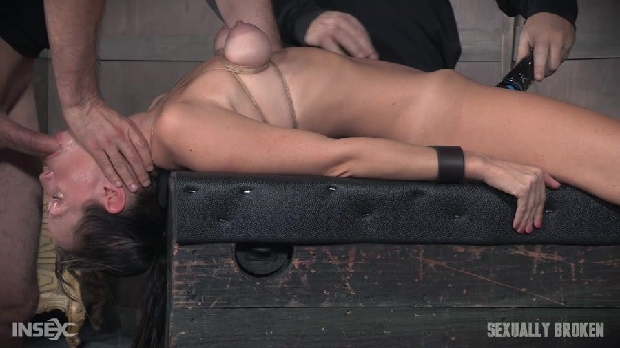 SexuallyBroken.com - Alana Cruise - Hot MILF has her tits brutally bound, her throat fucked upside down, and made to cum from huge cock! [HD 720p / BDSM / Rough Sex / 2017]