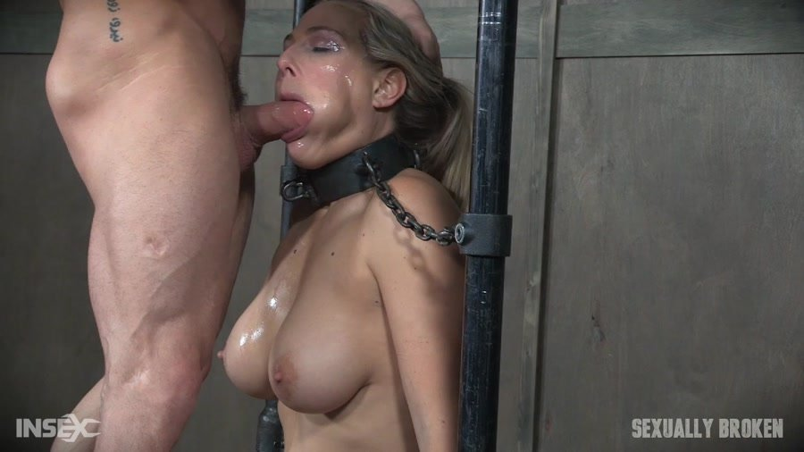 SexuallyBroken.com - ANGEL ALLWOOD - Part 2 Bound and helpless, Big titted blond is deepthroated, face fucked and made to cum over and over! [HD 720p / BDSM / Extreme Rough Sex / 2017]