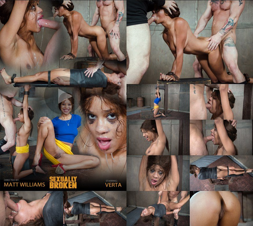 SexuallyBroken.com - Verta, Matt Williams, Sergeant Miles - Verta is bound down hard and fucked harder. Brutal face fucking and cervix pounding creates orgasms [HD 720p / BDSM / Hardcore / 2017]