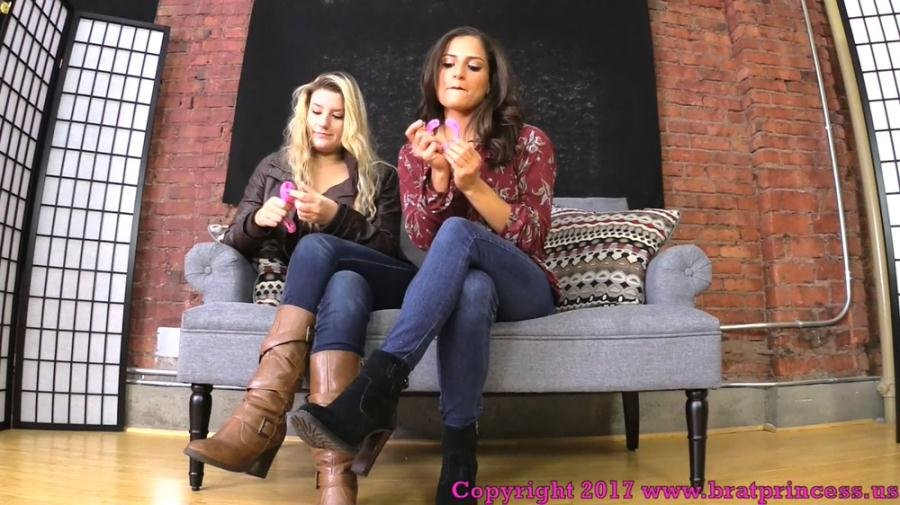 BratPrincess - ChiChi, Chloe - You Need To Be Locked In Chastity Before You Worship Our Feet [FullHD 1080p / Humiliation, Foot Worship / 2018]