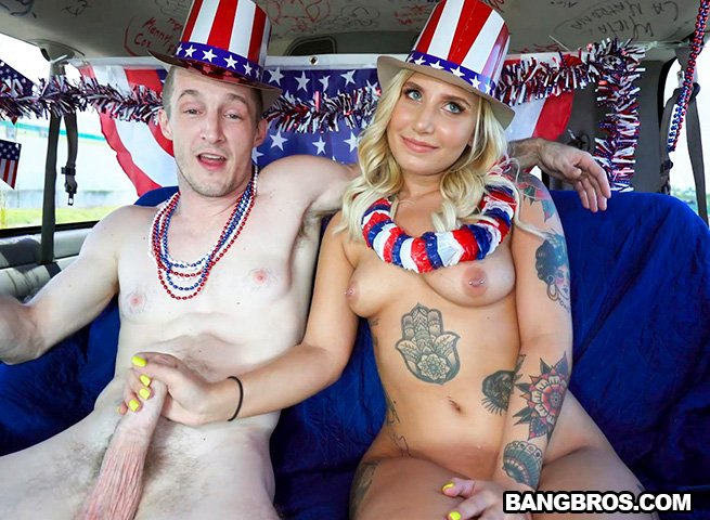 BangBus.com / BangBros.com - Stella Raee - 4th of July Celebration on The Bus [SD / Blonde /  2018]