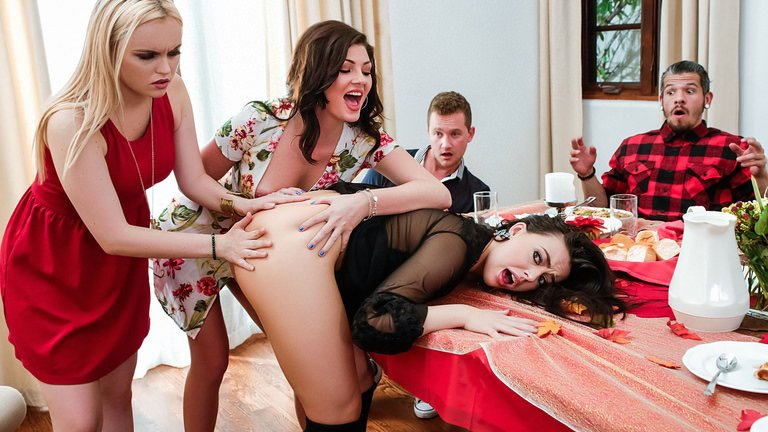 SneakySex.com / RealityKings.com - Whitney Wright, River Fox, Jessica Rex - Thanksgiving Dinner Sluts [SD / Teen, Young /  2018]