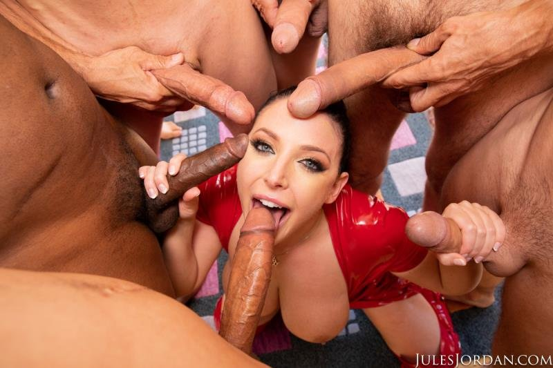 JulesJordan.com -  Angela White - Swarmed By 13 Guys Does Her Biggest Blowbang Ever [SD / Latex, Rubber /  2019]